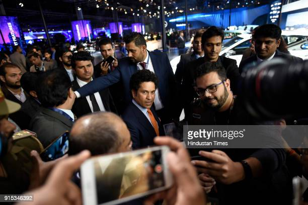 Former Indian cricketer Sachin Tendulkar appeared during the Auto Expo 2018 Motor Show at the India Expo Mart on February 7 2018 in Greater Noida...