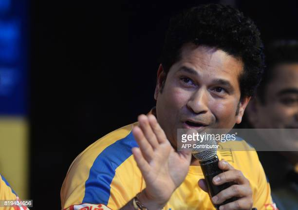 Former Indian cricketer Sachin Tendulkar gestures during the launch of the 'Tamil Thalaiva' Pro Kabbadi team in Chennai on July 20 2017 / AFP PHOTO /...