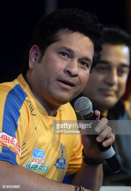 Former Indian cricketer Sachin Tendulkar speaks during the launch of the 'Tamil Thalaiva' Pro Kabbadi team in Chennai on July 20 2017 / AFP PHOTO /...