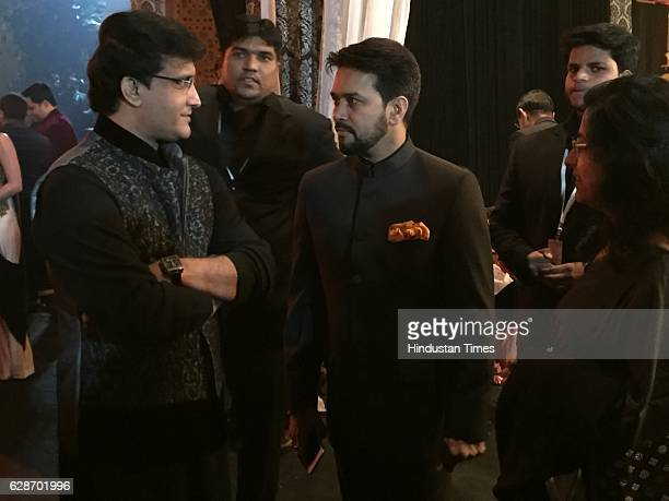 Former Indian cricketer Sourav Ganguly with BCCI President Anurag Thakur during the wedding reception of Indian Cricketer Yuvraj Singh and Bollywood...
