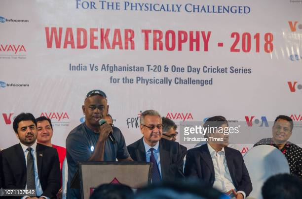 Former Indian cricketer Vinod Kambli during an inauguration of Wadekar Trophy 2018 for physically challenged at Air India Sports Club at Santacruz on...