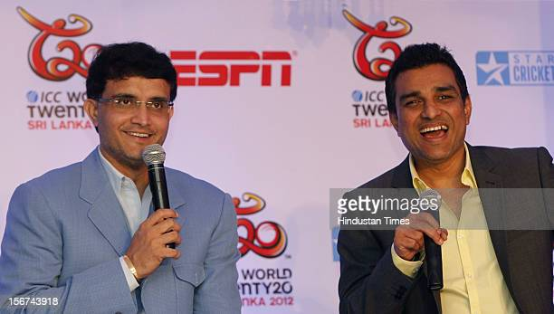 'NEW DELHI INDIA AUGUST 28 Former Indian cricketers and commentators for the upcoming Twenty20 world cup Saurav Ganguly and Sanjay Manjrekar speak at...