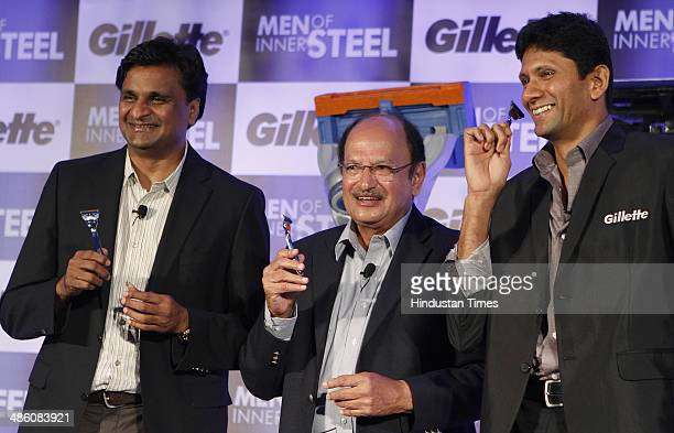 Former Indian Cricketers Javagal Srinath Ajit Wadekar and Venkatesh Prasad during the launch of special edition razors by Gillette on April 22 2014...