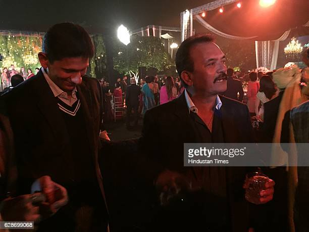 Former Indian Cricketers Madan Lal and Venkatesh Prasad during the wedding reception of Indian Cricketer Yuvraj Singh and Bollywood actor Hazel Keech...