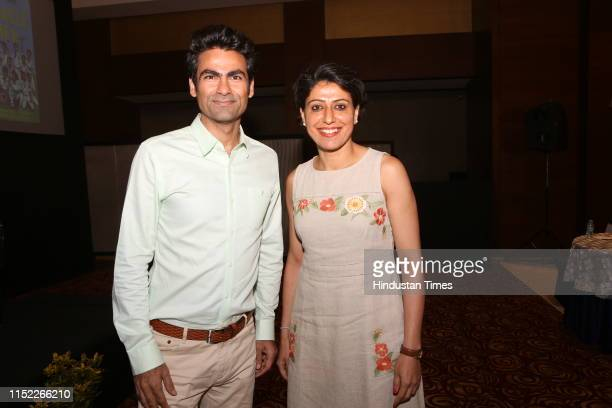 Former Indian cricketers Mohammad Kaif and Anjum Chopra pose for a picture during the launch of of sports journalist Nikhil Naz's book 'Miracle Men'...