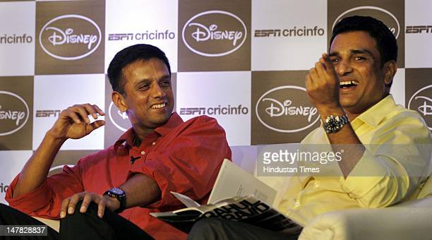 Former Indian cricketers Rahul Dravid and Sanjay Manjrekar during the launch of 'Timeless Steel' an Anthology of articles on Rahul Dravid' at a...