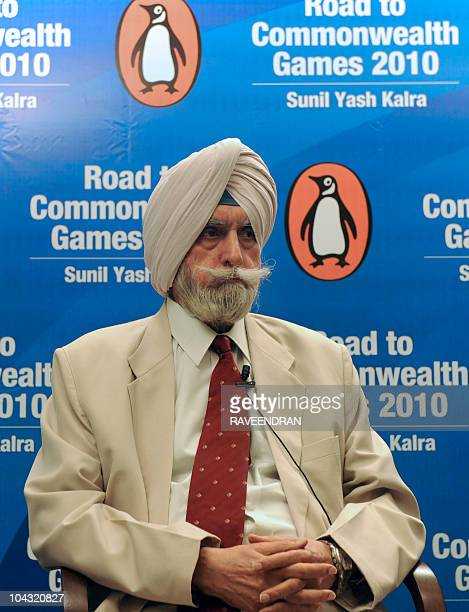 Former Indian Inspector General of Police KPS Gill gestures during a launch of a book 'Road to Commonwealth Games 2010' written by Sunil Yash Kalra...
