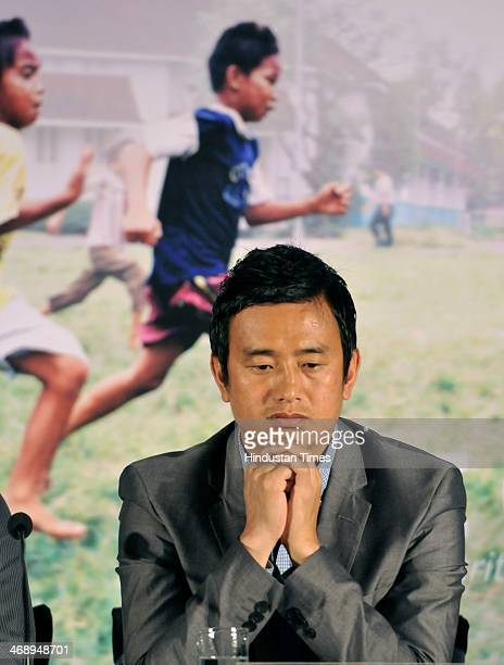 Former Indian national football team captain Bhaichung Bhutia at the launch of One Goal Campaign on February 12 2014 in New Delhi India One Goal...