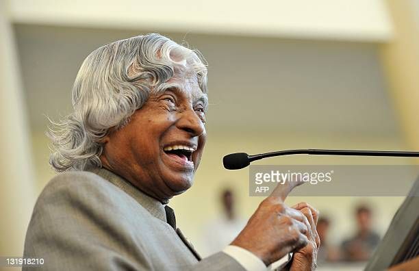 Former Indian president APJ Abdul Kalam addresses the audience during the inauguration of the Centre of Excellence in High Speed Aerodynamics at the...