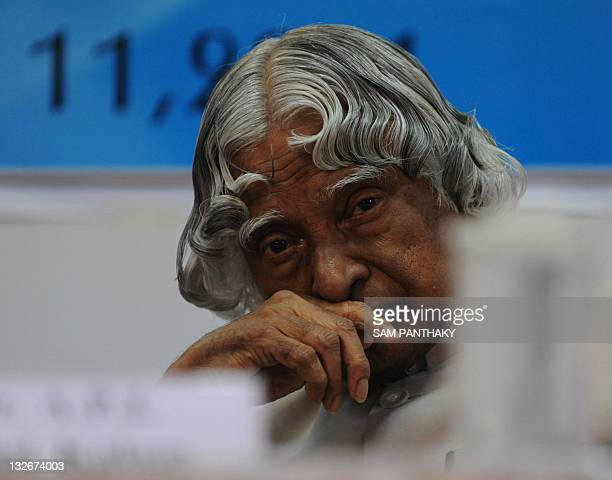 Former Indian President APJ Abdul Kalam gestures during his visit to the LD Institute of Indology in Ahmedabad on November 11 2011 The United States...