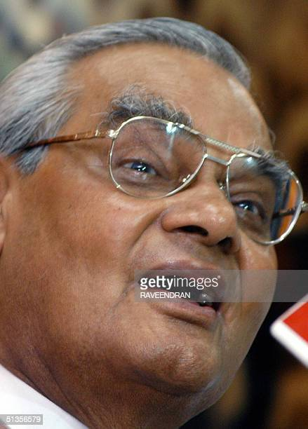 Former Indian Prime Minister Atal Behari Vajpayee addresses Bharatiya Janata Party leaders and workers on the occasion of party ideologue Deen Dayal...
