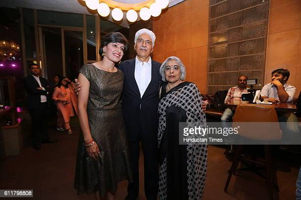 Former Indian Women Cricketer Anjum Chopra with her parents Krishan Bal Chopra and Poonam Chopra during a facilitation program organized for her to...