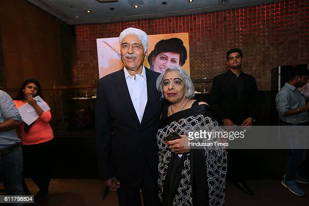 Former Indian Women Cricketer Anjum Chopra's parents Krishan Bal Chopra and mother Poonam Chopra during a facilitation program organized for her to...
