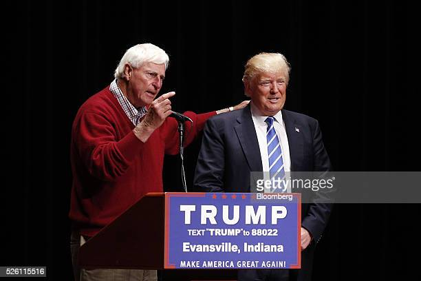 Former Indiana basketball coach Bobby Knight speaks while standing next to Donald Trump president and chief executive of Trump Organization Inc and...