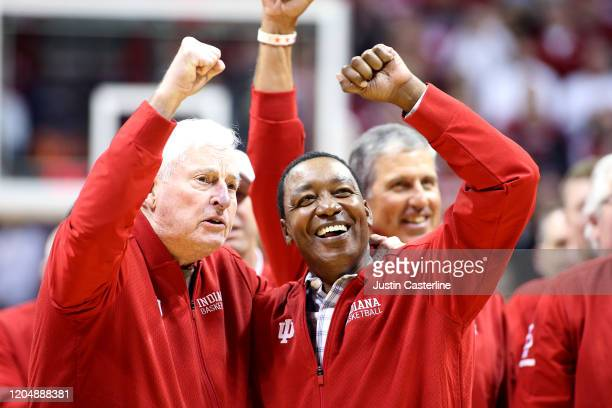Former Indiana Hoosiers head coach Bob Knight and former Indiana Hoosiers player Isaiah Thomas on the court at half time during the game against the...