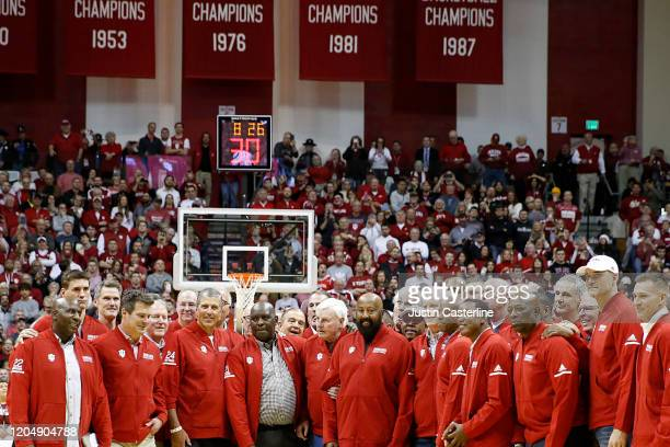 Former Indiana Hoosiers head coach Bob Knight on the court along with former Indiana Hoosiers players at half time during the game against the Purdue...