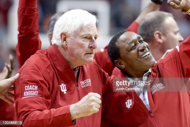 Former Indiana Hoosiers Head coach Bob Knight on the court during halftime of the game against the Purdue Boilermakers at Assembly Hall on February...