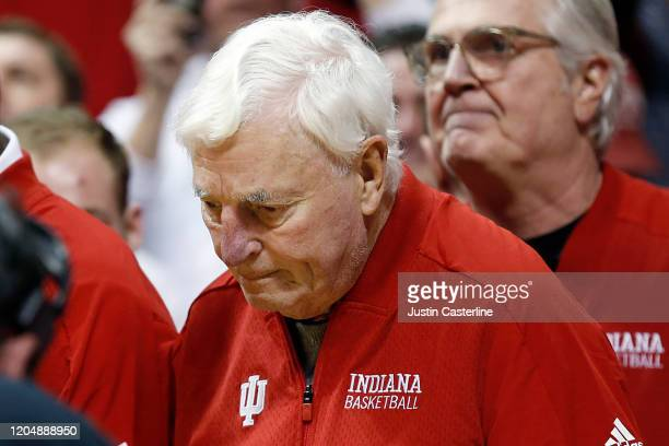 Former Indiana Hoosiers head coach Bob Knight walks onto the court during the halftime of the game against the Purdue Boilermakers at Assembly Hall...