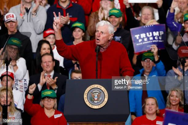 Former Indiana University basketball coach Bobby Knight speaks at a campaign rally on November 2 2018 in Indianapolis Indiana President Trump is...