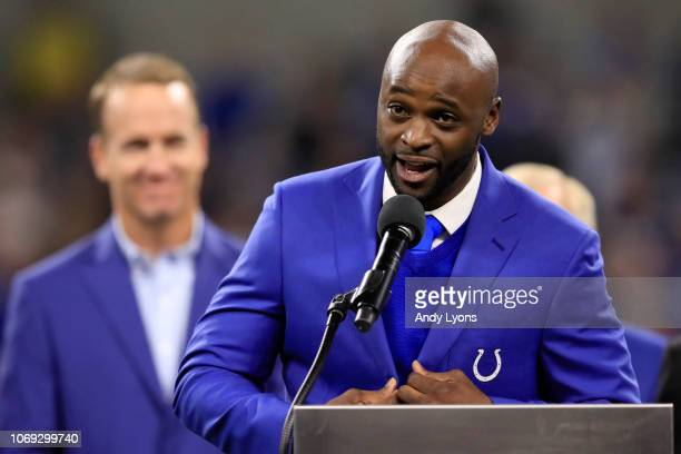 Former Indianapolis Colts wide receiver Reggie Wayne is inducted to the Colts' Ring of Honor at Lucas Oil Stadium on November 18 2018 in Indianapolis...