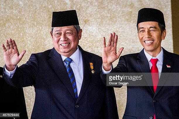 Former Indonesian President Susilo Bambang Yudhoyono and Indonesian President Joko Widodo arrives at the inauguration ceremony for President Joko...
