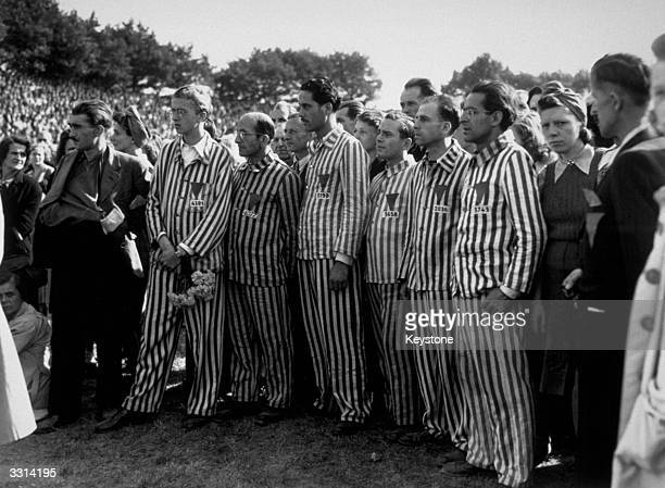 Former inmates of a Nazi concentration camp at an AntiFascist meeting in Berlin held to honour the thousands of Germans who perished in Nazi...