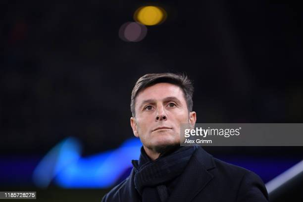 Former Inter Milan player Javier Zanetti looks on prior to the UEFA Champions League group F match between Borussia Dortmund and Inter at Signal...
