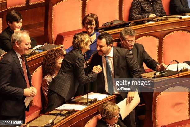 Former Interior Minister Matteo Salvini and Senator Giulia Bongiorno in the Senate Chamber in Rome Italy on February 12 2020