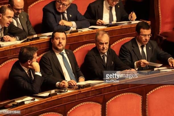 Former Interior Minister Matteo Salvini and the 'league' Senators in the Senate Chamber in Rome Italy on February 12 2020
