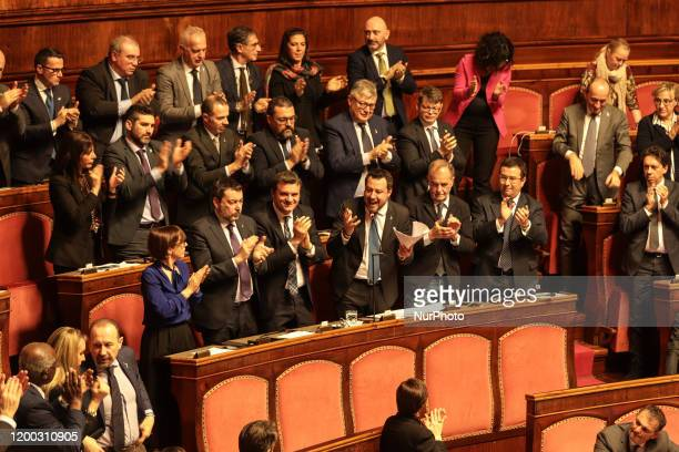 Former Interior Minister Matteo Salvini during his speech at the Senate chamber in Rome Italy on February 12 2020
