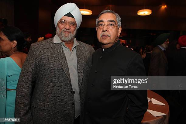 Former International cricketer Bishen Singh Bedi and Nalin Surie former high commissioner of India to Britain attend the Punjabi achievers awards at...