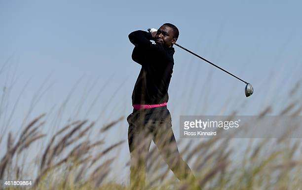Former international footballer Andrew Cole in action during the proam event prior to the Commercial Bank Qatar Masters at the Doha Golf Club on...