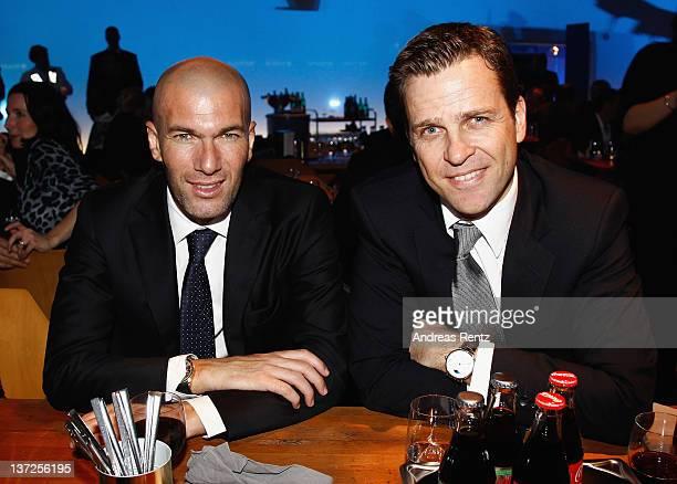 Former International footballer Zinedine Zidane and General manager of the German national team Oliver Bierhoff attend the IWC Schaffhausen Top Gun...