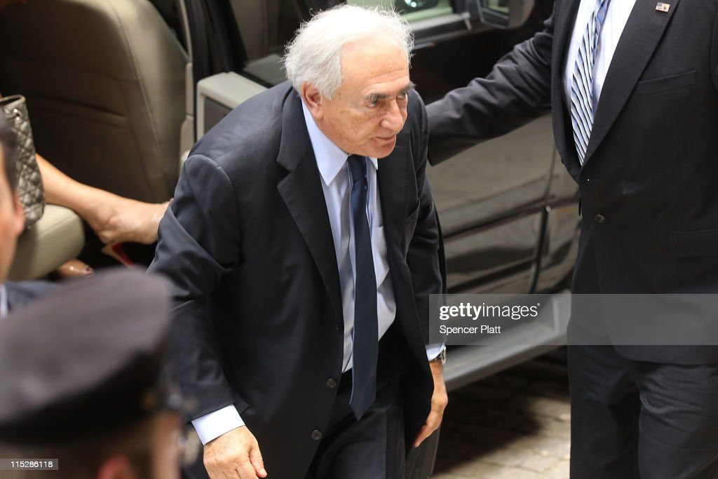 Former International Monetary Fund (IMF) chief Dominique Strauss-Kahn arrives back at his temporary Manhattan residence following a court appearance in Manhattan Supreme Court in the morning where he plead not guilty to charges that he sexually assaulted a hotel housekeeper last month on June 6, 2011 in New York City. Strauss-Kahn, who was expected to be a contender for the French presidency, made his first court appearance since he was let out on $1 million bail and set under house arrest last month.