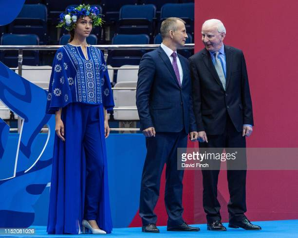 Former International Olympic Committee member Patrick Hickey here on the right chats to EJU President Sergey Soloveychik before presenting the team...