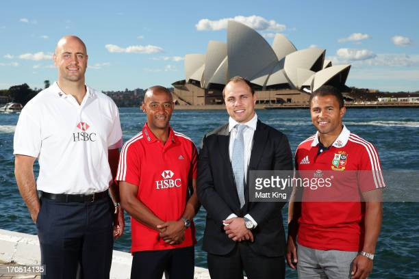 Former internationals Nathan Sharpe George Gregan Phil Waugh and Jason Robinson attend the HSBC Sydney Long Lunch Media Session at Museum of...