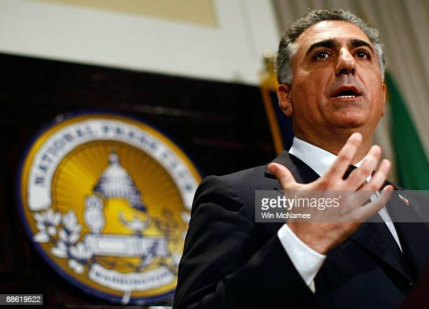 Former Iranian Crown Prince Reza Pahlavi speaks at the National Press Club June 22 2009 in Washington DC Pahlavi commenting on recent developments in...