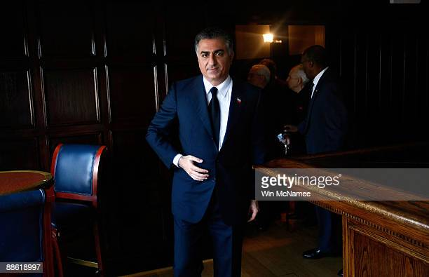 Former Iranian Crown Prince Reza Pahlavi visits the National Press Club for a speaking engagement June 22 2009 in Washington DC Pahlavi commenting on...