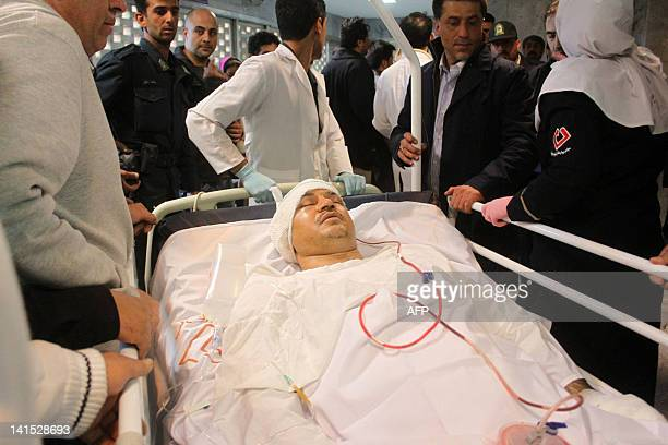 Former Iranian football player and head coach of Rah Ahan club Ali Daei is taken from Beheshti hospital of the central city of Kashan on March 18...