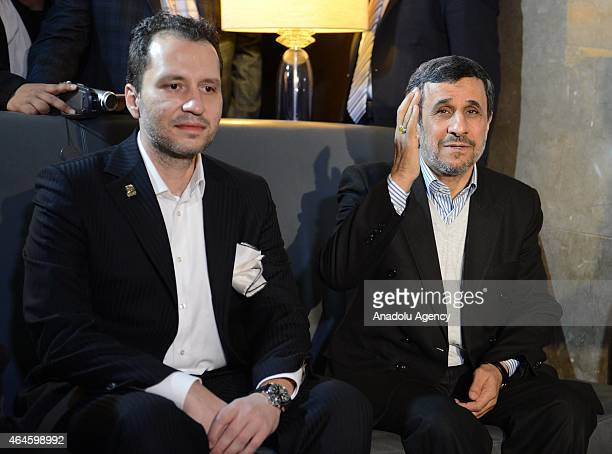 Former Iranian President Mahmoud Ahmadinejad meets with Prof Dr Necmettin Erbakan Foundation chairman Fatih Erbakan as he arrives in Bursa for a...