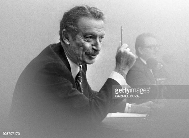 Former Iranien Prime minister Shapour Bakhtiar answers newsmen in a radio broadcast in Paris September 30 1979 Shapour Bakhtiar had to flee Iran...