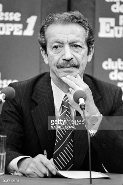Former Iranien Prime minister Shapur Bakhtiar answers newsmen in a radio broadcast in Paris September 301979 Shapur Bakhtiar had to flee Iran on...