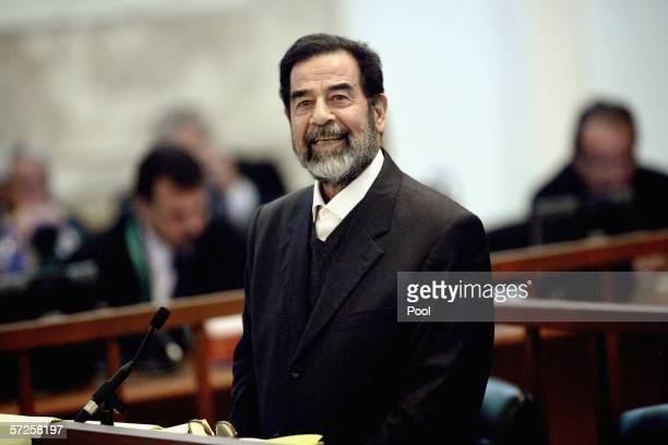 Former Iraqi President Saddam Hussein testifies during crossexamination in his trial held April 5 2006 in Baghdad's heavily fortified Green Zone Iraq...