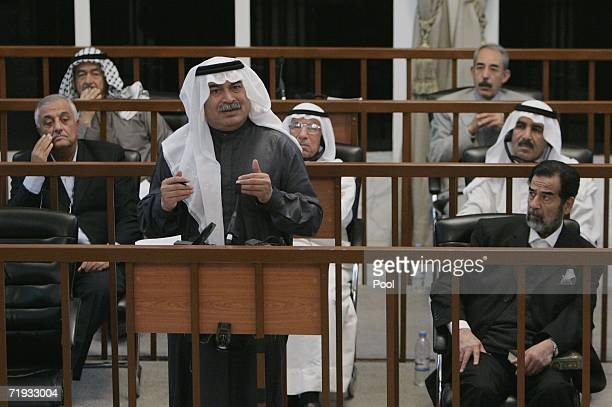 Former Iraqi President Saddam Hussein's codefendant Sultan Hashim testifies during their trial in the fortified Green Zone September 19 2006 in...
