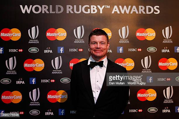 Former Ireland player Brian O'Driscoll poses after receiving the IRPA Special Merit award during the World Rugby via Getty Images Awards 2015 at...