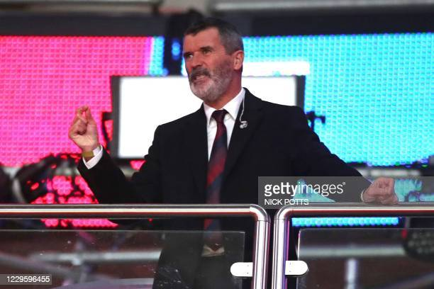 Former Ireland player Roy Keane, working for television, looks on during the international friendly football match between England and Republic of...