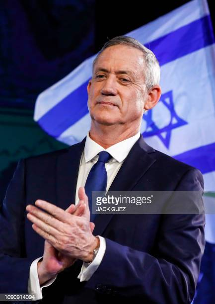 Former Israeli chief of staff Benny Gantz attends an electoral rally in the Israeli coastal city of Tel Aviv on January 29, 2019. - The former...