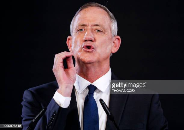 Former Israeli chief of staff Benny Gantz delivers his first electoral speech in the Israeli coastal city of Tel Aviv on January 29, 2019. - The...