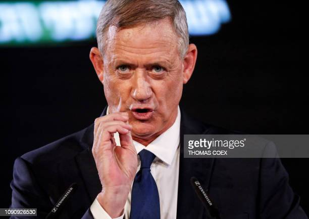 Former Israeli chief of staff Benny Gantz delivers his first electoral speech in the Israeli coastal city of Tel Aviv on January 29 2019 The former...