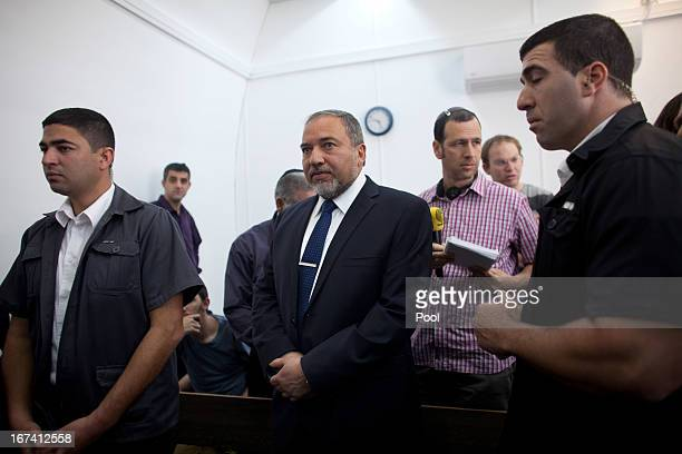 Former Israeli foreign minister Avigdor Lieberman arrives to the magistrate court for the continuation of his trial on April 25, 2013 in Jerusalem,...